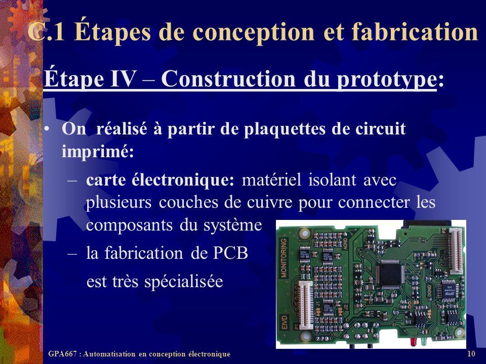 GPA667 : Automatisation en conception électronique10 Étape IV – Construction du prototype: On réalisé à partir de plaquettes de circuit imprimé: –cart