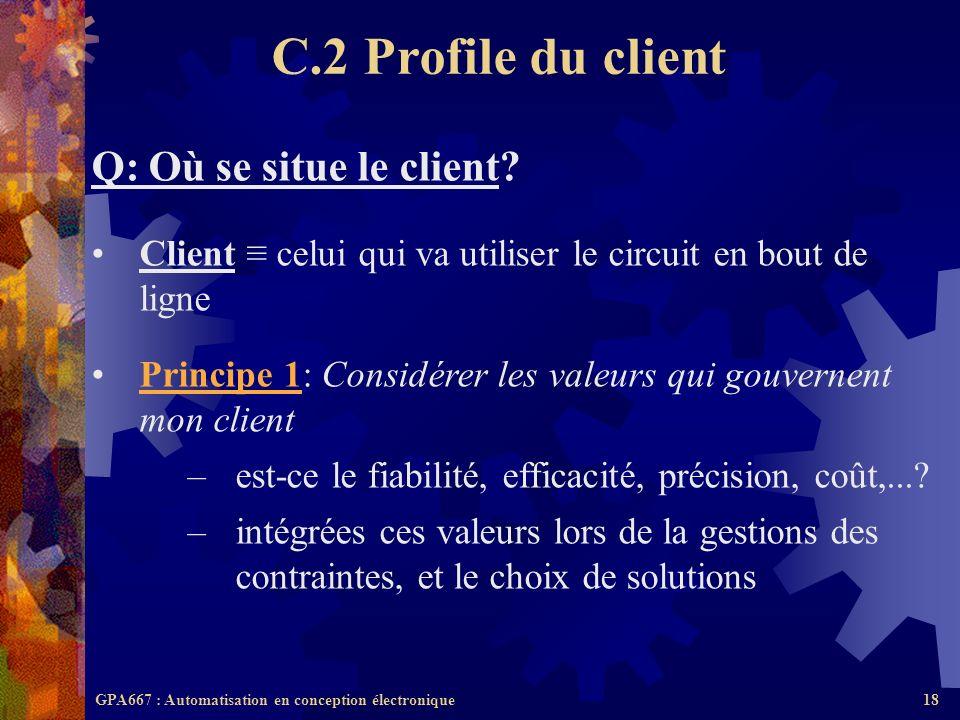 GPA667 : Automatisation en conception électronique18 Q: Où se situe le client? Client celui qui va utiliser le circuit en bout de ligne Principe 1: Co