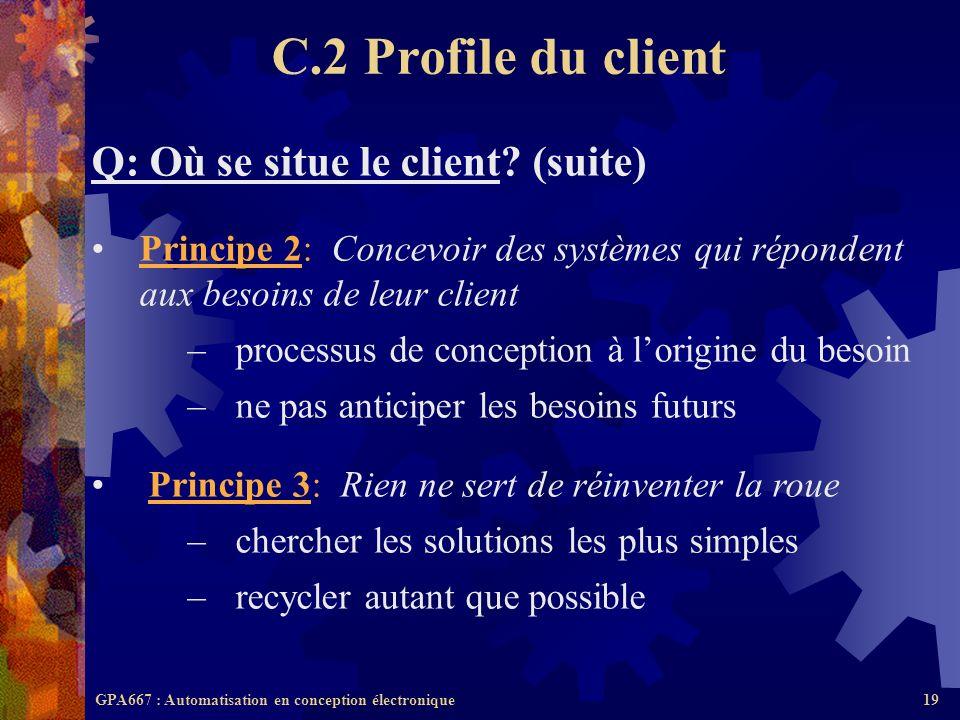 GPA667 : Automatisation en conception électronique19 Q: Où se situe le client? (suite) Principe 2: Concevoir des systèmes qui répondent aux besoins de