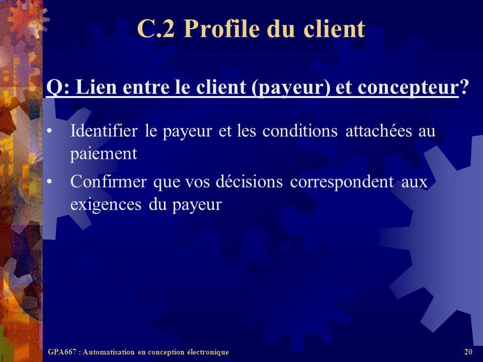 GPA667 : Automatisation en conception électronique20 Q: Lien entre le client (payeur) et concepteur? Identifier le payeur et les conditions attachées