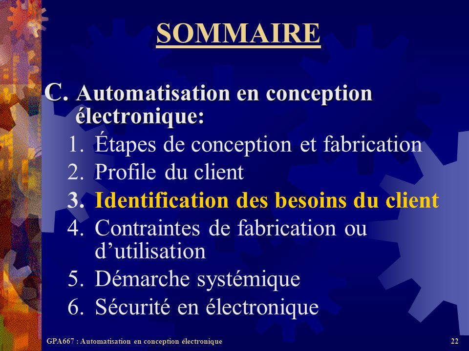 GPA667 : Automatisation en conception électronique22 SOMMAIRE C. Automatisation en conception électronique: 1.Étapes de conception et fabrication 2.Pr