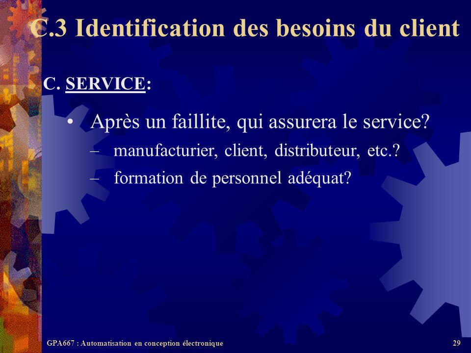 GPA667 : Automatisation en conception électronique29 C. SERVICE: Après un faillite, qui assurera le service? –manufacturier, client, distributeur, etc