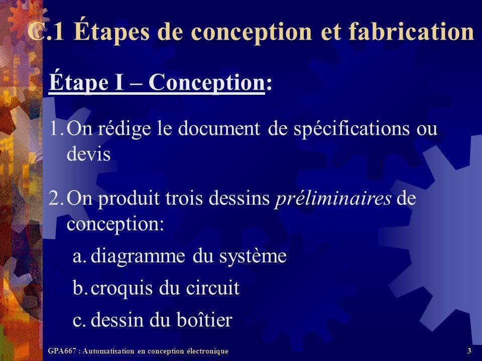 GPA667 : Automatisation en conception électronique3 Étape I – Conception: 1.On rédige le document de spécifications ou devis 2.On produit trois dessin