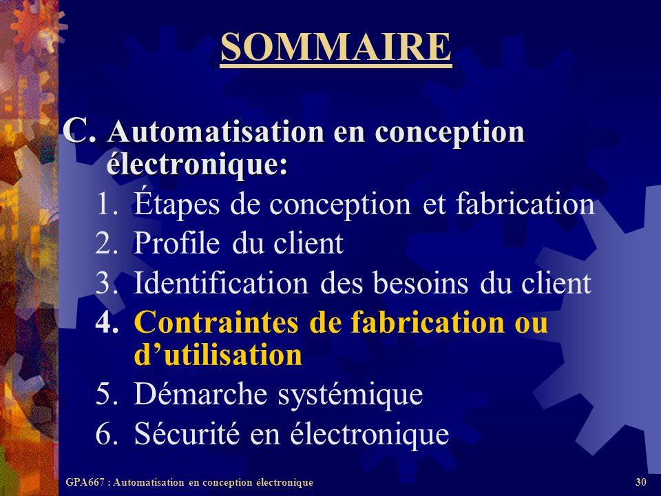 GPA667 : Automatisation en conception électronique30 SOMMAIRE C. Automatisation en conception électronique: 1.Étapes de conception et fabrication 2.Pr