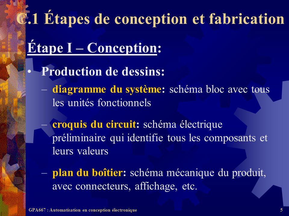 GPA667 : Automatisation en conception électronique5 Étape I – Conception: Production de dessins: –diagramme du système: schéma bloc avec tous les unit