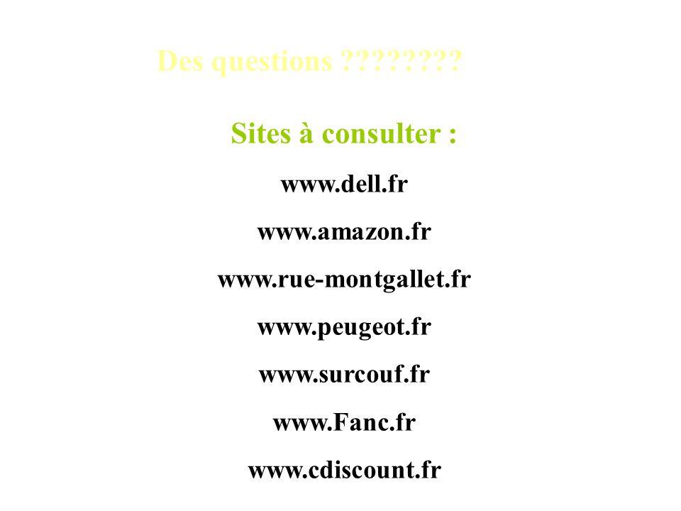 Des questions ???????? Sites à consulter : www.dell.fr www.amazon.fr www.rue-montgallet.fr www.peugeot.fr www.surcouf.fr www.Fanc.fr www.cdiscount.fr
