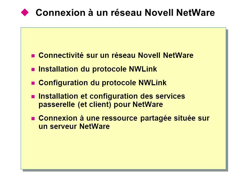 Connexion à un réseau Novell NetWare Connectivité sur un réseau Novell NetWare Installation du protocole NWLink Configuration du protocole NWLink Inst