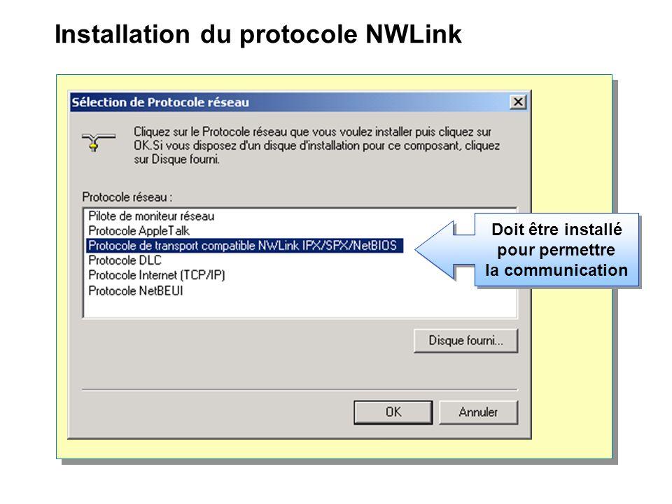 Installation du protocole NWLink Doit être installé pour permettre la communication