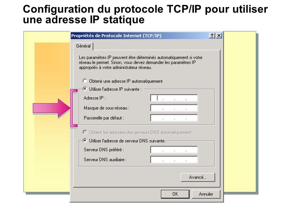 Vérification et test de la configuration TCP/IP Vérification et test du processus de configuration ipconfig ping 127.0.0.1 (adresse de bouclage) ping sur l adresse IP de l ordinateur local ping sur l adresse IP de la passerelle par défaut ping sur l adresse IP de l hôte distant