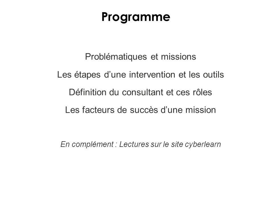 Programme Problématiques et missions Les étapes dune intervention et les outils Définition du consultant et ces rôles Les facteurs de succès dune mission En complément : Lectures sur le site cyberlearn