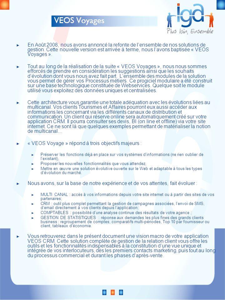 Campagnes Tâches Automatiques Multicanal – VEOS CRM Client Base de données Dossier Voyage Devis BI Liste Facture Tâche Fiche Client Web services CRM Internet B2C VEOS BO VEOS Comptabilité VEOS Décisionnel Prestataires Externes TravelOffice – H2O B2B SMS EmailCourier Téléphone Assurances TMS