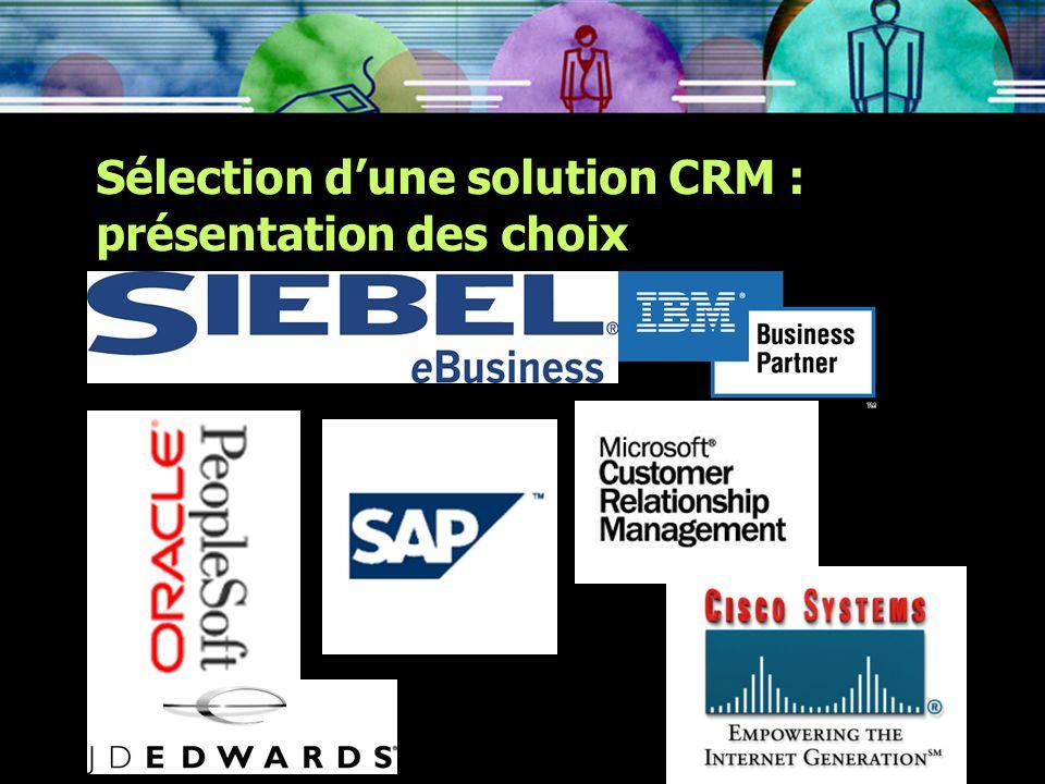 Sélection dune solution CRM : présentation des choix