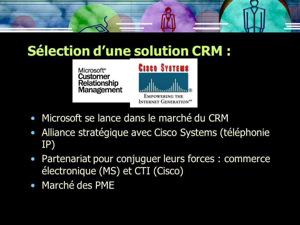 Sélection dune solution CRM : Microsoft se lance dans le marché du CRM Alliance stratégique avec Cisco Systems (téléphonie IP) Partenariat pour conjug