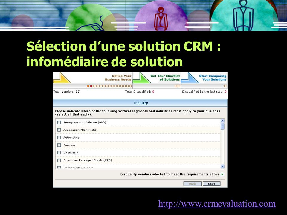 Sélection dune solution CRM : infomédiaire de solution http://www.crmevaluation.com