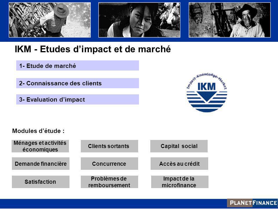 IKM - Etudes dimpact et de marché Accès au crédit Impact de la microfinance Capital social Satisfaction Demande financière Ménages et activités économ