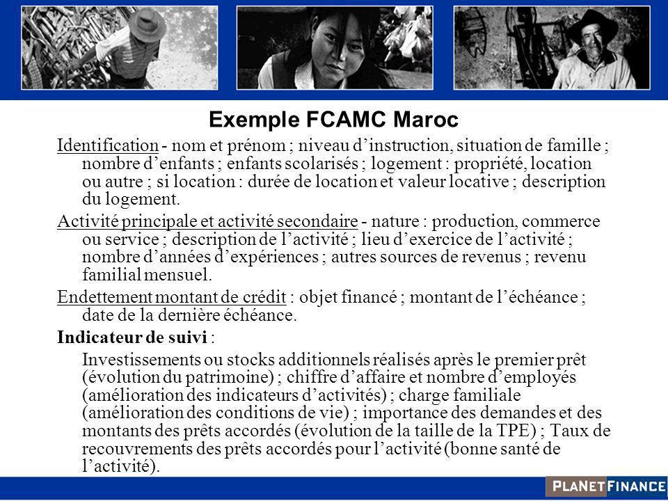 Exemple FCAMC Maroc Identification - nom et prénom ; niveau dinstruction, situation de famille ; nombre denfants ; enfants scolarisés ; logement : pro