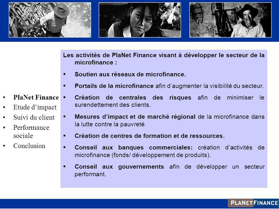 Les activités de PlaNet Finance visant à développer le secteur de la microfinance : Soutien aux réseaux de microfinance. Portails de la microfinance a