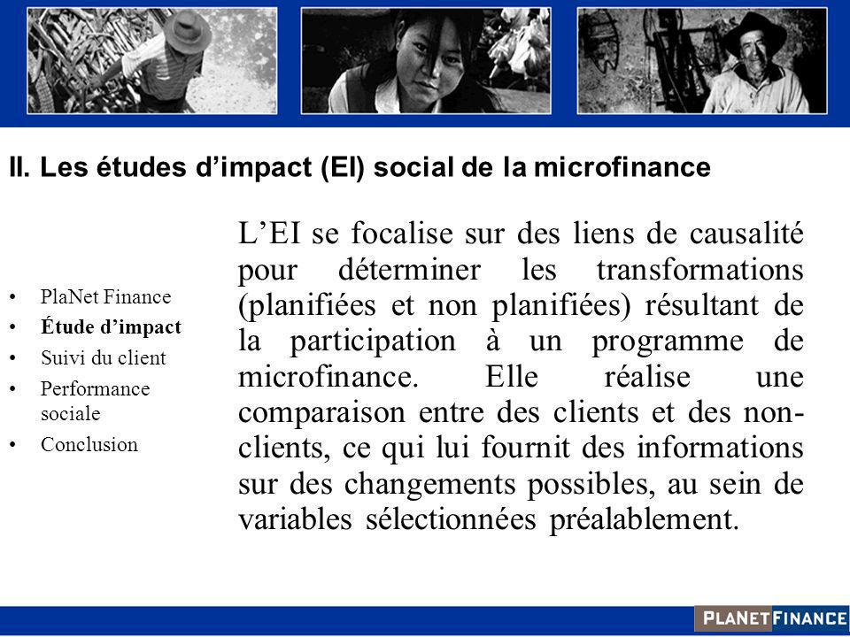 Quantitative Méthode quasi-expérimentale Qualitative Interviews qualitatives Observations directes Etudes de cas Participative Techniques visuelles Méthodes de dynamiques de groupe Introduction PlaNet Finance Etude dimpact Suivi du client Performance sociale Conclusion