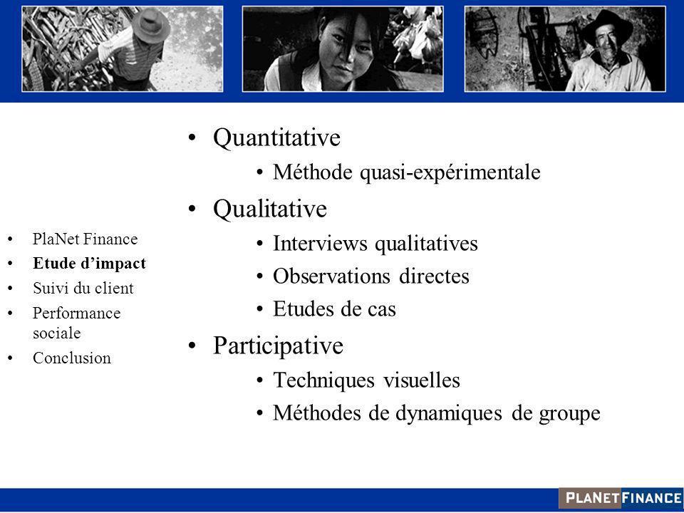 Quantitative Méthode quasi-expérimentale Qualitative Interviews qualitatives Observations directes Etudes de cas Participative Techniques visuelles Mé