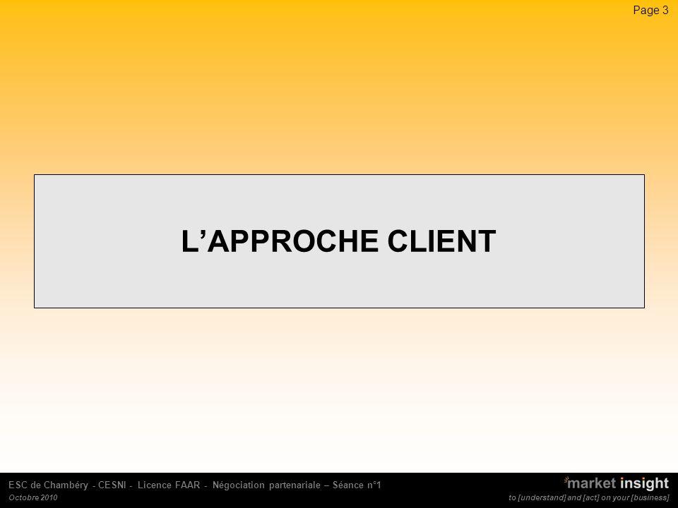 Page 4 to [understand] and [act] on your [business] ESC de Chambéry - CESNI - Licence FAAR - Négociation partenariale – Séance n°1 Octobre 2010 La caricature de lentreprise Communiquer pour vendre mieux et plus / Lapproche client