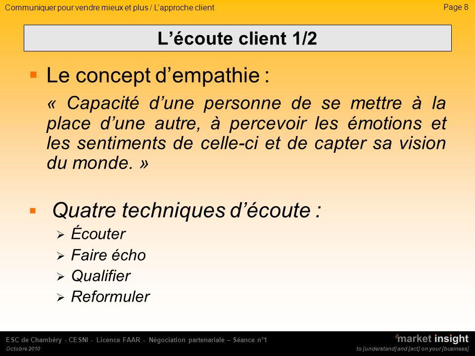 Page 9 to [understand] and [act] on your [business] ESC de Chambéry - CESNI - Licence FAAR - Négociation partenariale – Séance n°1 Octobre 2010 Lécoute client 2/2 Lécoute active en 10 commandements Cesser de parler .
