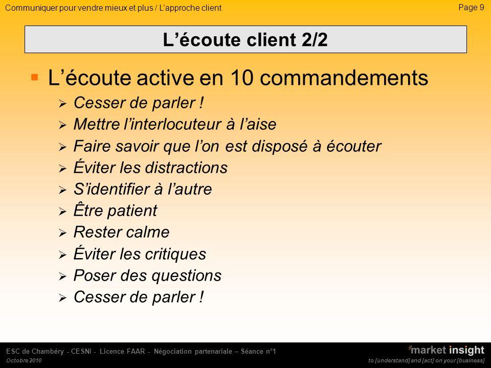 Page 10 to [understand] and [act] on your [business] ESC de Chambéry - CESNI - Licence FAAR - Négociation partenariale – Séance n°1 Octobre 2010 LA COMMUNICATION