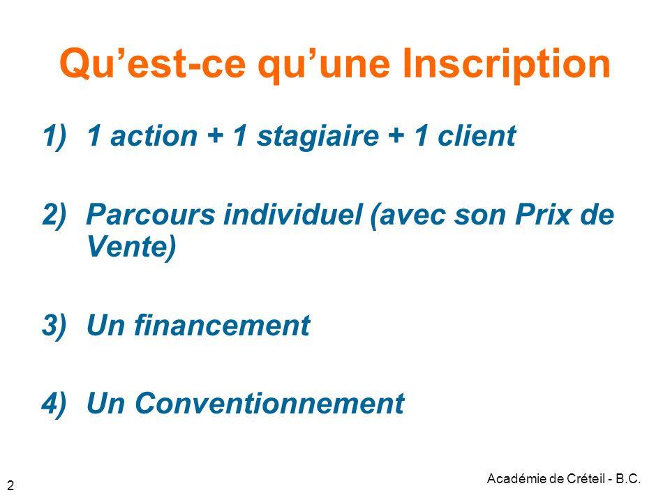 2 Quest-ce quune Inscription 1)1 action + 1 stagiaire + 1 client 2)Parcours individuel (avec son Prix de Vente) 3)Un financement 4)Un Conventionnement