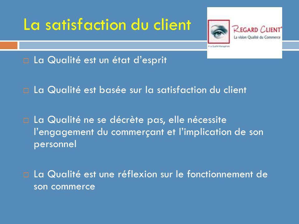 La satisfaction du client La Qualité est un état desprit La Qualité est basée sur la satisfaction du client La Qualité ne se décrète pas, elle nécessite lengagement du commerçant et limplication de son personnel La Qualité est une réflexion sur le fonctionnement de son commerce