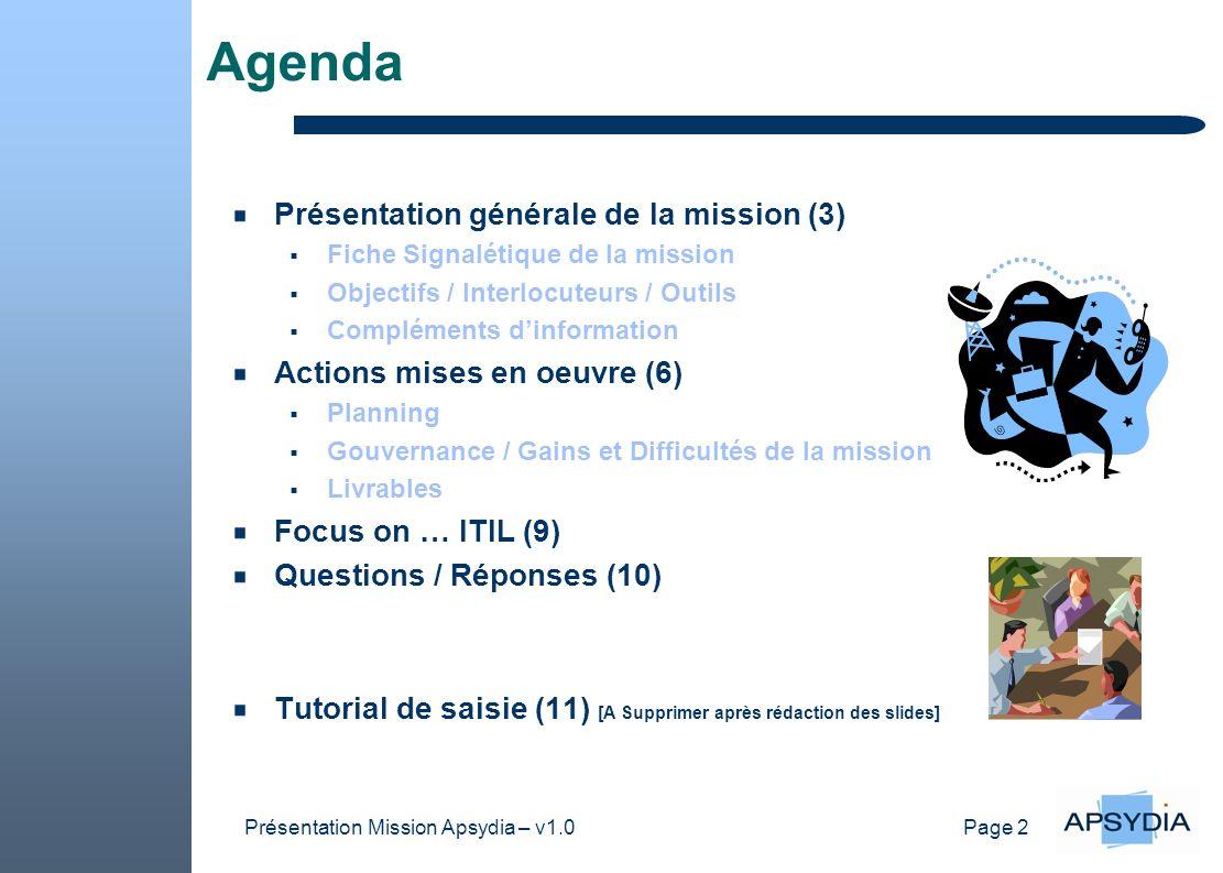 Page 2 Présentation Mission Apsydia – v1.0 Agenda Présentation générale de la mission (3) Fiche Signalétique de la mission Objectifs / Interlocuteurs