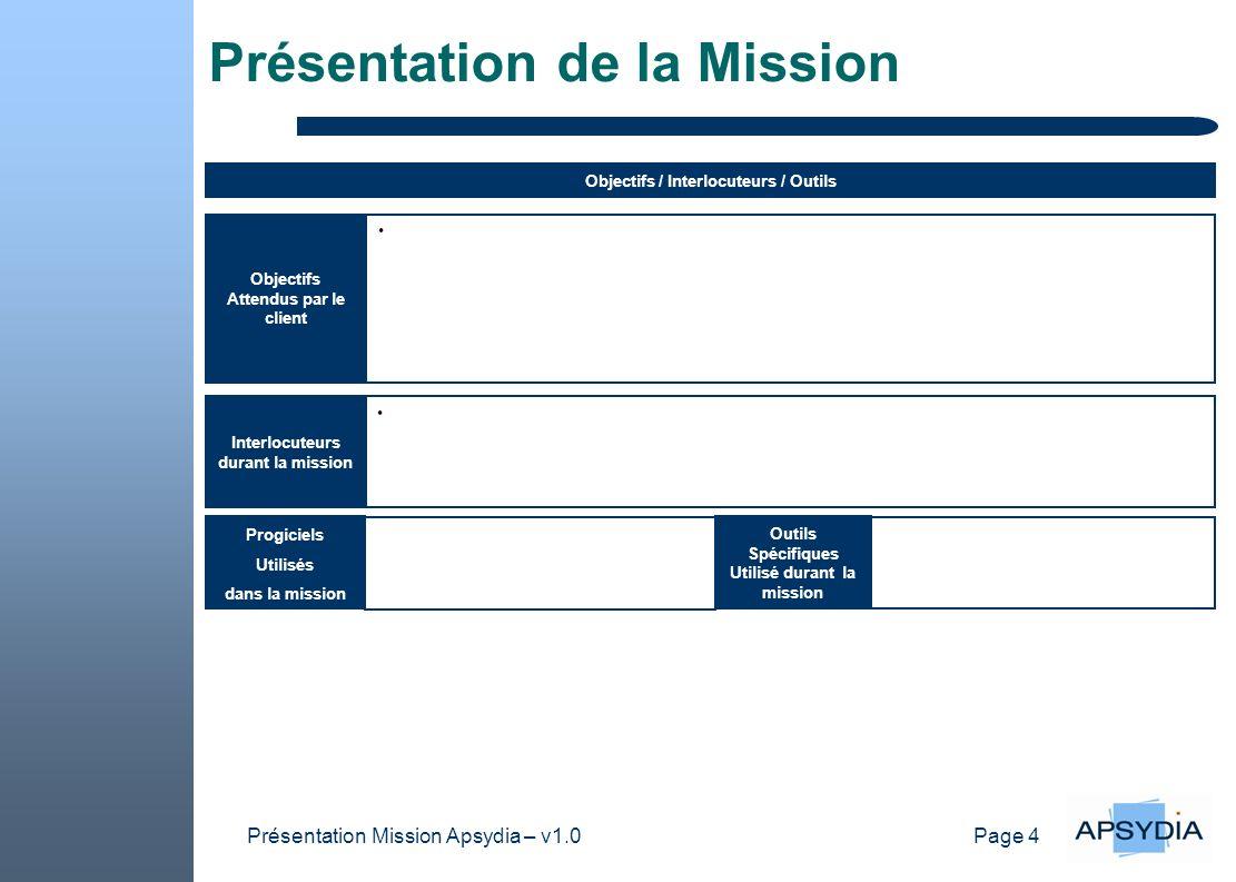 Page 4 Présentation Mission Apsydia – v1.0 Présentation de la Mission Outils Spécifiques Utilisé durant la mission Objectifs / Interlocuteurs / Outils