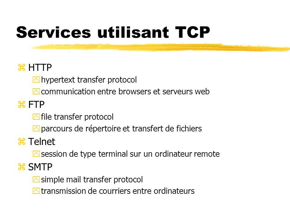 Services utilisant TCP zHTTP yhypertext transfer protocol ycommunication entre browsers et serveurs web zFTP yfile transfer protocol yparcours de répertoire et transfert de fichiers zTelnet ysession de type terminal sur un ordinateur remote zSMTP ysimple mail transfer protocol ytransmission de courriers entre ordinateurs