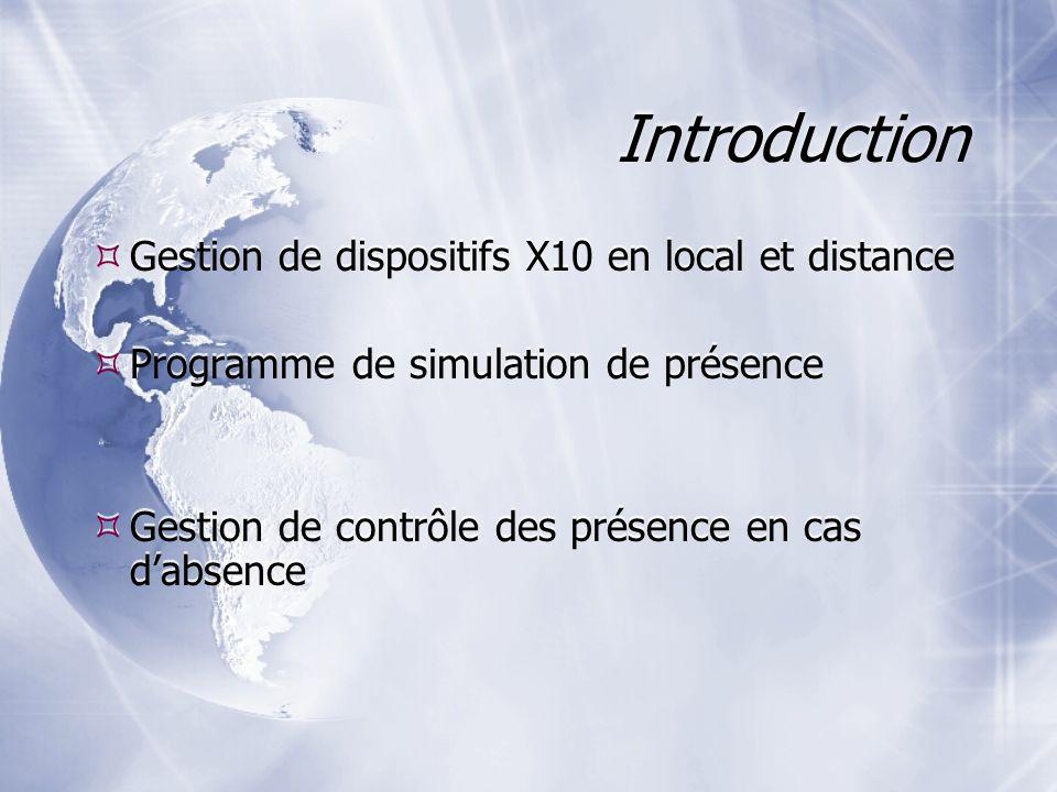 Introduction Gestion de dispositifs X10 en local et distance Programme de simulation de présence Gestion de contrôle des présence en cas dabsence Gestion de dispositifs X10 en local et distance Programme de simulation de présence Gestion de contrôle des présence en cas dabsence