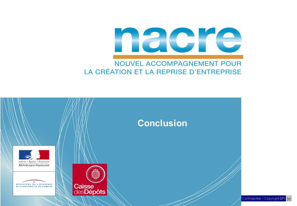 31 27 Mars 2009/ Confidentiel / Copyright BPI Réunion – NACRE – Poitou-Charentes Conclusion