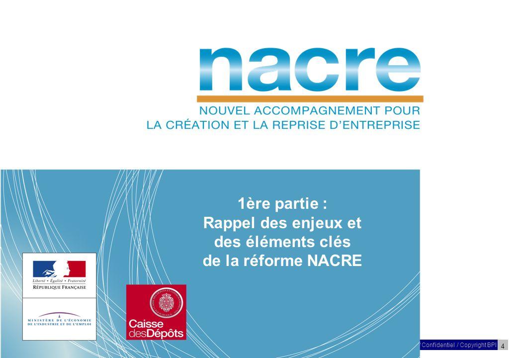 4 27 Mars 2009/ Confidentiel / Copyright BPI Réunion – NACRE – Poitou-Charentes 1ère partie : Rappel des enjeux et des éléments clés de la réforme NACRE
