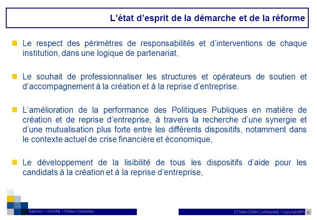 17 27 Mars 2009/ Confidentiel / Copyright BPI Réunion – NACRE – Poitou-Charentes Loffre de service Poitou-Charentes nLa Région Poitou-Charentes bénéficie en 2009 de 665 parcours Nacre.