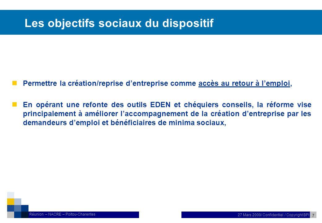 8 27 Mars 2009/ Confidentiel / Copyright BPI Réunion – NACRE – Poitou-Charentes Les objectifs économiques du dispositif n Cette réforme repose sur la labellisation et le conventionnement dopérateurs reconnus pour leur professionnalisme et leur capacité à réaliser un programme dactivité quantifié.