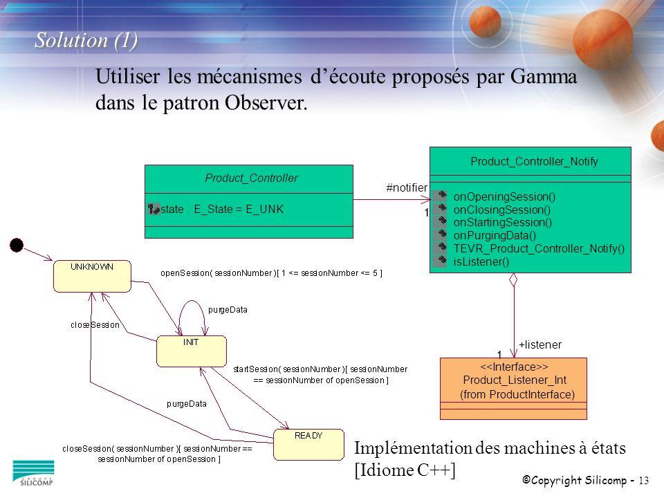 ©Copyright Silicomp - 13 Utiliser les mécanismes découte proposés par Gamma dans le patron Observer. 1 Product_Controller state : E_State = E_UNK Prod