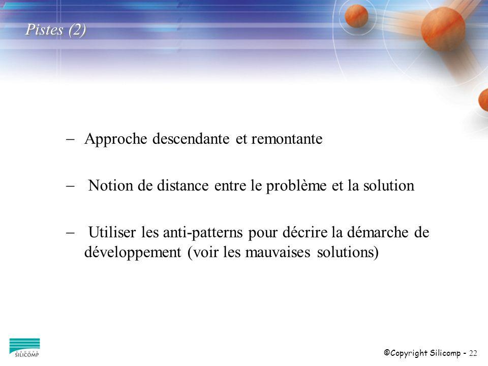 ©Copyright Silicomp - 22 Pistes (2) Approche descendante et remontante Notion de distance entre le problème et la solution Utiliser les anti-patterns pour décrire la démarche de développement (voir les mauvaises solutions)