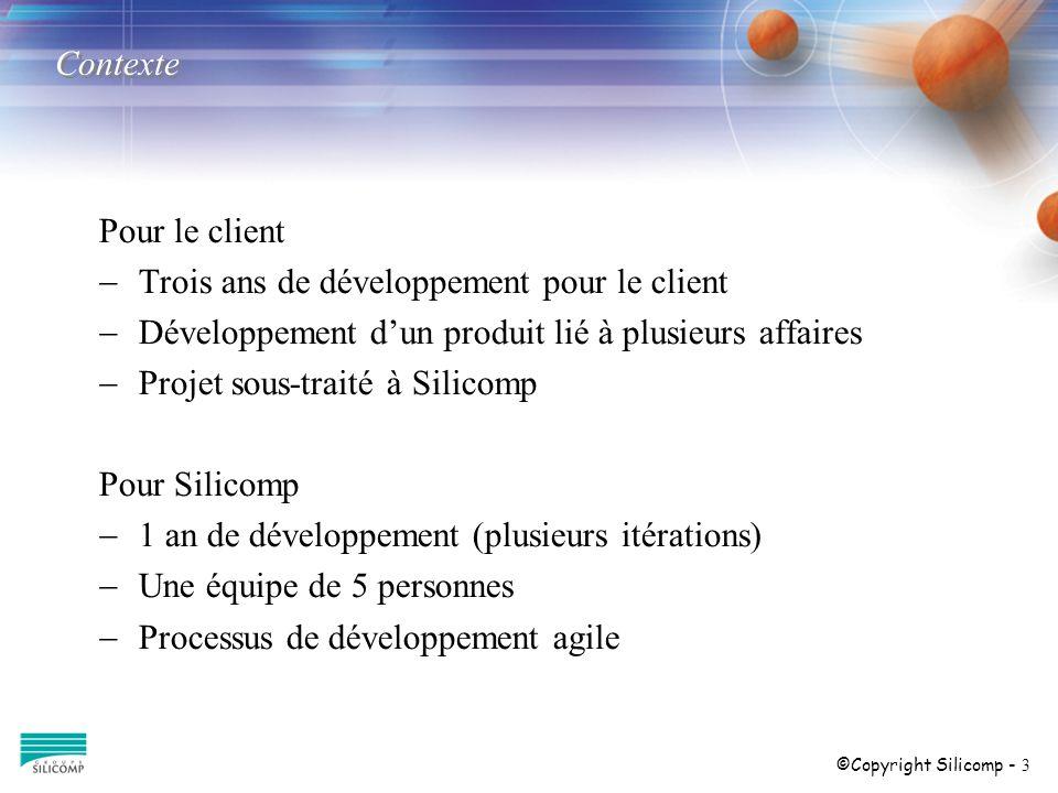 ©Copyright Silicomp - 3 Contexte Pour le client Trois ans de développement pour le client Développement dun produit lié à plusieurs affaires Projet sous-traité à Silicomp Pour Silicomp 1 an de développement (plusieurs itérations) Une équipe de 5 personnes Processus de développement agile
