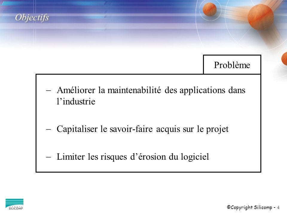 ©Copyright Silicomp - 4 Objectifs Améliorer la maintenabilité des applications dans lindustrie Capitaliser le savoir-faire acquis sur le projet Limiter les risques dérosion du logiciel Problème