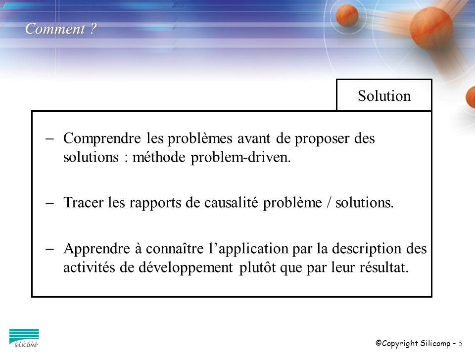 ©Copyright Silicomp - 5 Comprendre les problèmes avant de proposer des solutions : méthode problem-driven. Tracer les rapports de causalité problème /