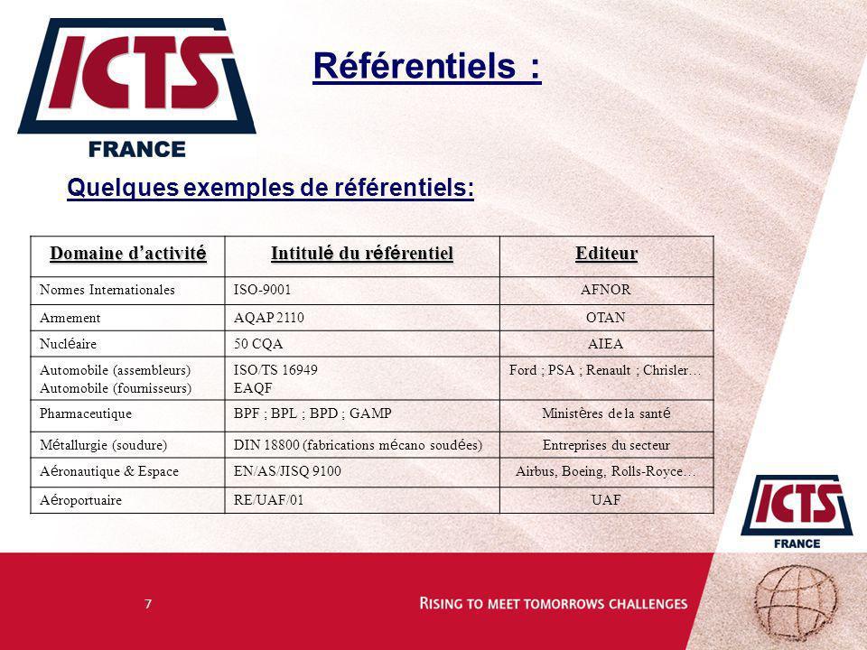 7 Référentiels : Quelques exemples de référentiels: Domaine d activit é Intitul é du r é f é rentiel Editeur Normes InternationalesISO-9001AFNOR Armem