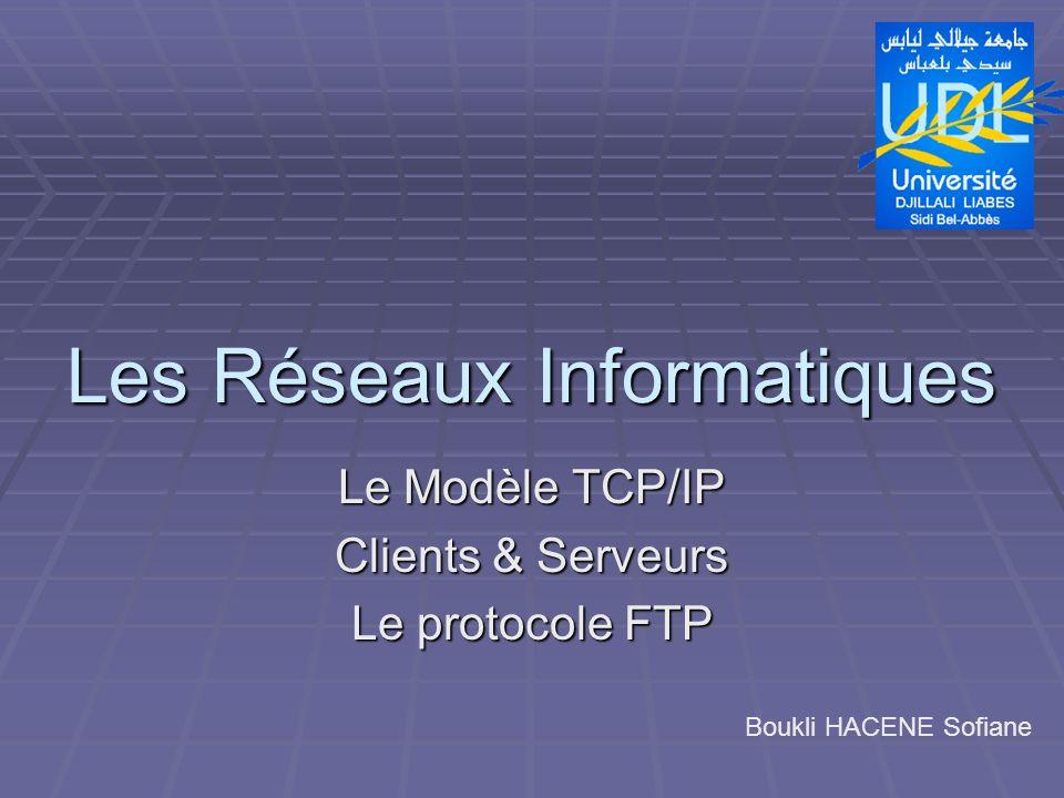Les Réseaux Informatiques Le Modèle TCP/IP Clients & Serveurs Le protocole FTP Boukli HACENE Sofiane