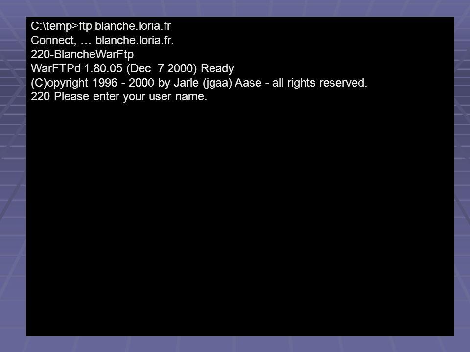 C:\temp>ftp blanche.loria.fr Connect … blanche.loria.fr. 220-BlancheWarFtp WarFTPd 1.80.05 (Dec 7 2000) Ready (C)opyright 1996 - 2000 by Jarle (jgaa)