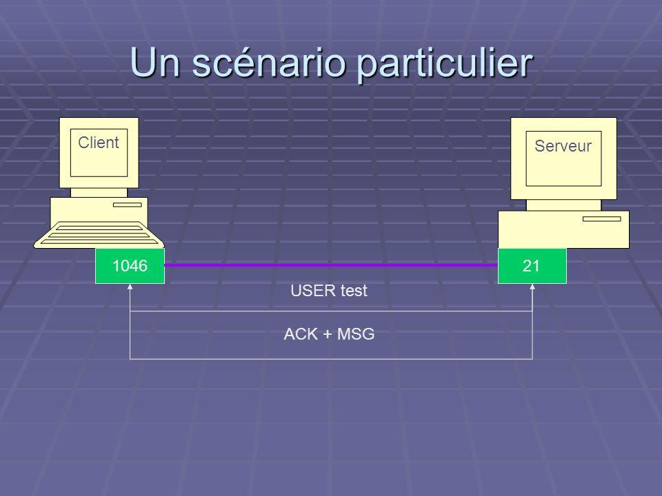Un scénario particulier Serveur Client 211046 USER test ACK + MSG