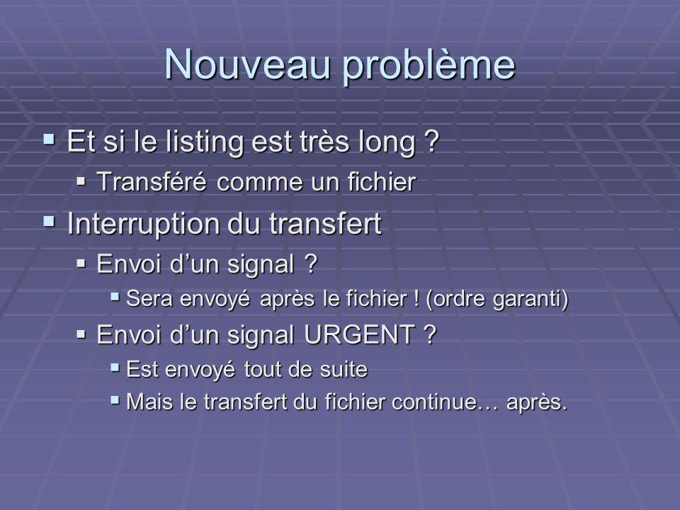 Nouveau problème Et si le listing est très long ? Et si le listing est très long ? Transféré comme un fichier Transféré comme un fichier Interruption