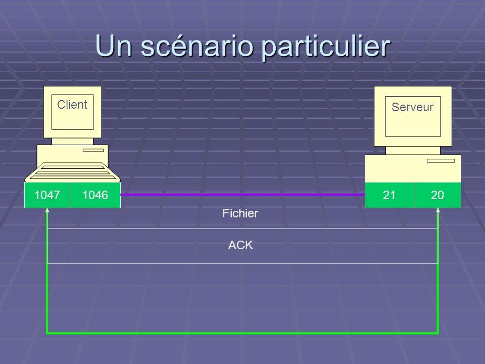 Un scénario particulier Serveur Client 211046201047 Fichier ACK