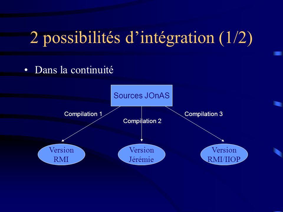 2 possibilités dintégration (1/2) Dans la continuité Sources JOnAS Version RMI Version Jérémie Compilation 1 Compilation 2 Version RMI/IIOP Compilatio