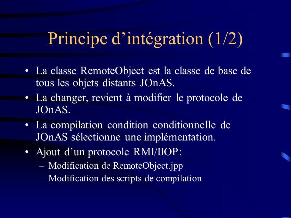 Principe dintégration (1/2) La classe RemoteObject est la classe de base de tous les objets distants JOnAS. La changer, revient à modifier le protocol