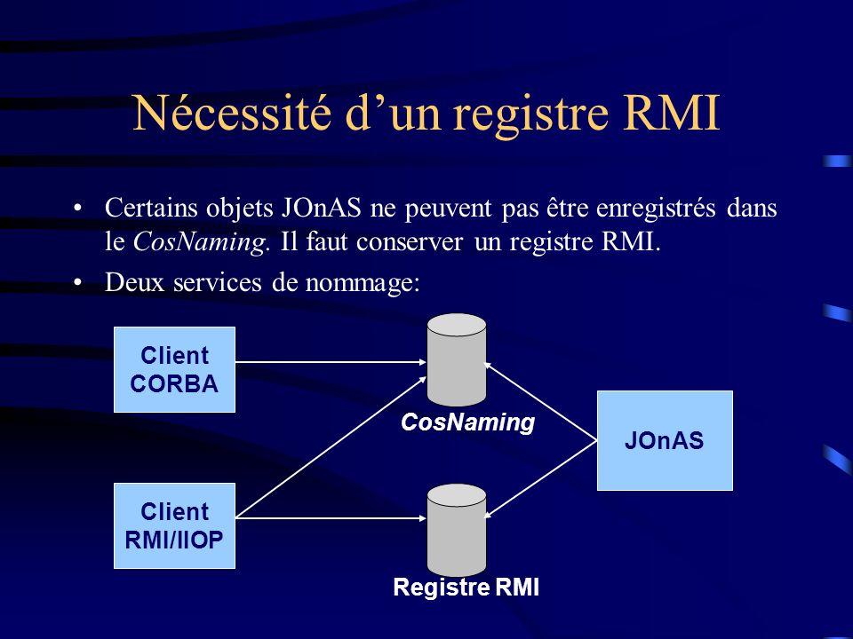 Nécessité dun registre RMI Certains objets JOnAS ne peuvent pas être enregistrés dans le CosNaming. Il faut conserver un registre RMI. Deux services d
